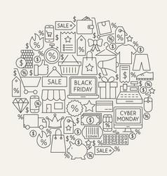 Black friday line icons circle vector