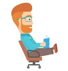 Businessman reading book vector image