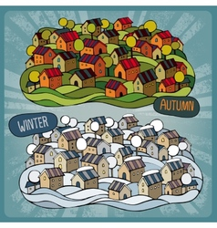 Cartoon fairy-tale village in two seasons vector