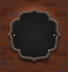 Chalkboard in wooden frame on vintage brick wall vector image vector image