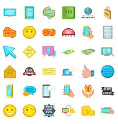 Ecommerce icons set cartoon style vector