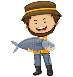 Fisherman holding big fish in hands vector image vector image