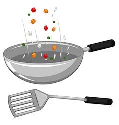 Frying pan and spatula vector image vector image