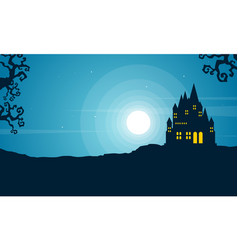 Halloween with scary castle landscape vector
