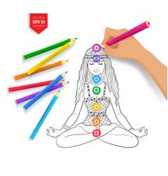 Hand drawing meditating woman and chakras vector