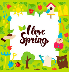 I love spring paper concept vector