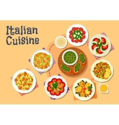 Italian cuisine healthy dishes for dinner icon vector