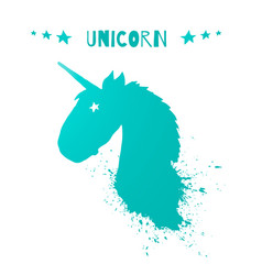 Magic unicorn head logo template vector