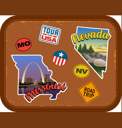 Missouri nevada travel stickers and retro text vector