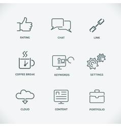 Modern line SEO icons set of seo service symbols vector image
