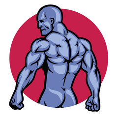 Muscle bodybuilder back pose vector