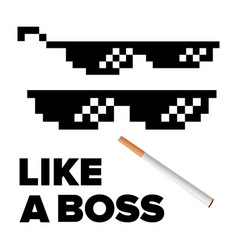 Pixel glasses like a boss thug lifestyle vector
