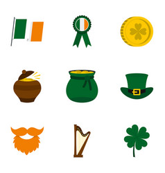Saint patrick day icon set flat style vector