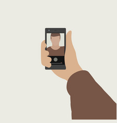 selfie flat banner vector image