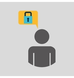 Silhouette blue man padlock protection design icon vector