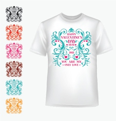 t-shirt with abstract heart vector image vector image