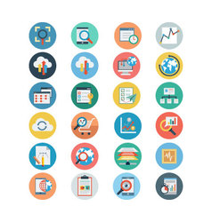 Universal Web Flat Colored Icons 2 vector image