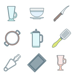 Various color outline dinnerware icons set vector