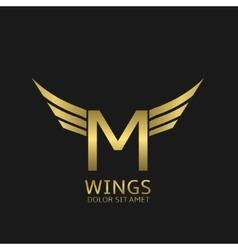 Wings m letter logo vector