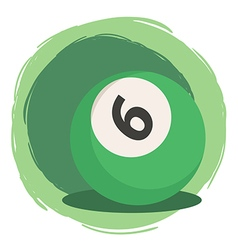Billiard ball number 6 green vector