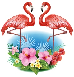 Arrangement from tropical flowers and flamingoes vector