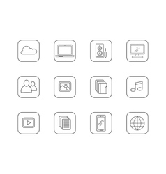 Set of media and technology line icons vector