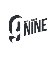 Black and white number nine diagonal logo template vector image