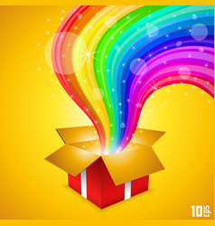 open gift with rainbow vector image