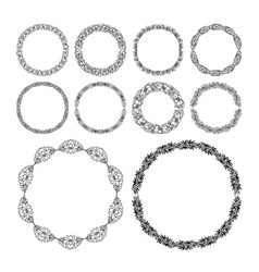 round doodle border set perfect lace wedding vector image