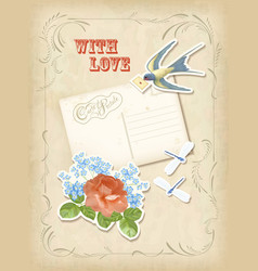Vintage scrapbook elements retro card love design vector