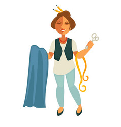 Woman tailor with equipment vector