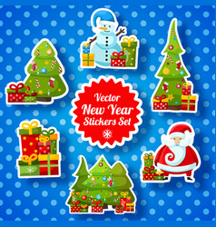 New year stickers collection vector