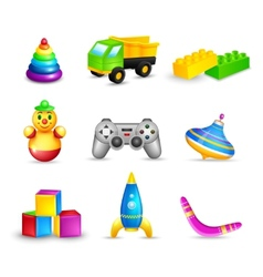 Kid toys icons set vector