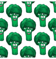 Cartoon broccoli seamless pattern vector