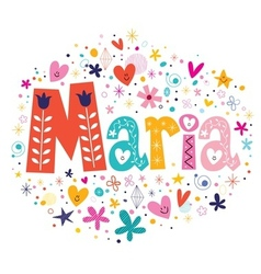 Maria female name decorative lettering type design vector