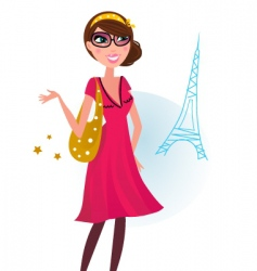 Woman shopping in paris vector