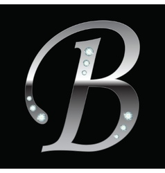 Silver metallic letter b vector