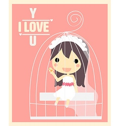 Girl in cage valentines card vector