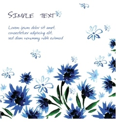 Floral background with space for text watercolor vector