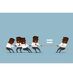 Cartoon businessmen competing in tug of war vector
