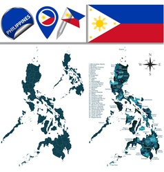 Philippines map with named divisions vector