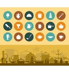 Icons and banner cookware and tableware vector