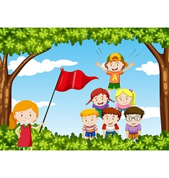 Children play human pyramid in the park vector