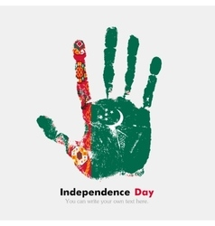 Handprint with the flag of turkmenistan in grunge vector
