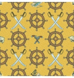 Pirate Seamless Pattern with Retro Ship Ste vector image