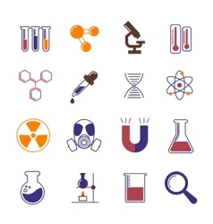Color chemistry research and science icons vector