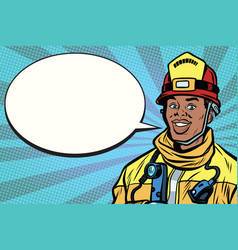 african american firefighter portrait comic vector image