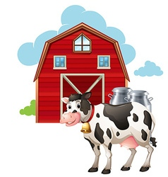 Barn and cow vector