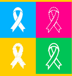 Black awareness ribbon sign four styles of icon vector