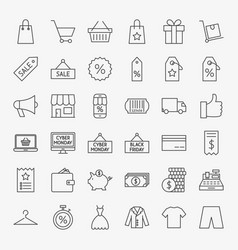 Black friday line icons vector